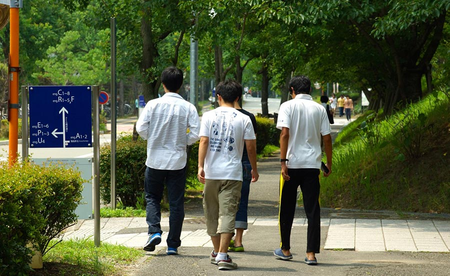 Students at Osaka University's Suita Campus