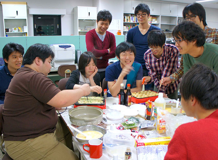A takoyaki (a ball-shaped Japanese snack) party in the student room